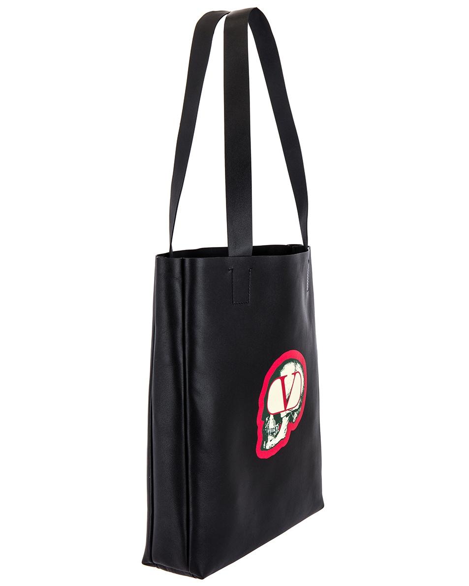 Image 3 of Valentino Skull Tote Bag in Black