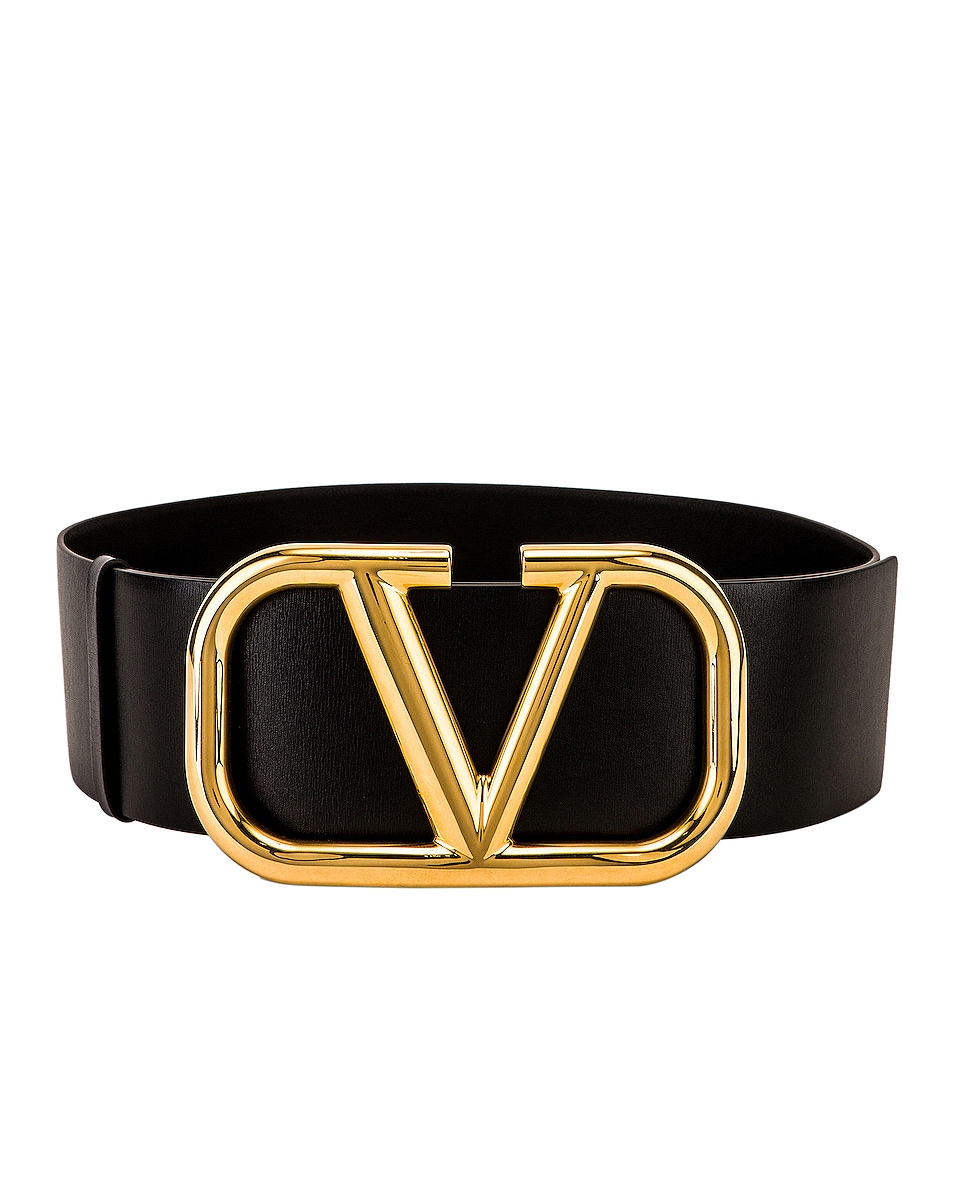 Image 1 of Valentino V Logo Buckle Belt in Nero