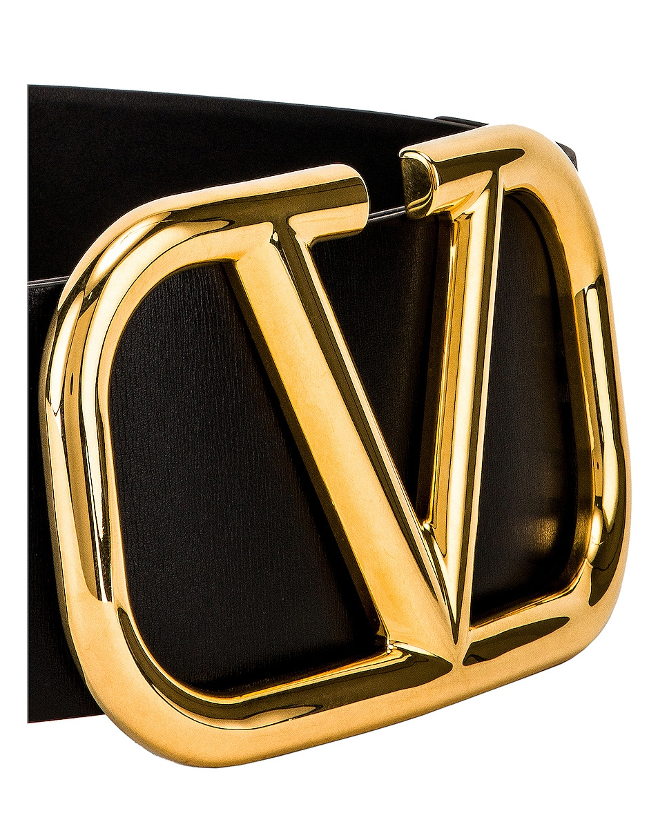 Image 3 of Valentino V Logo Buckle Belt in Nero