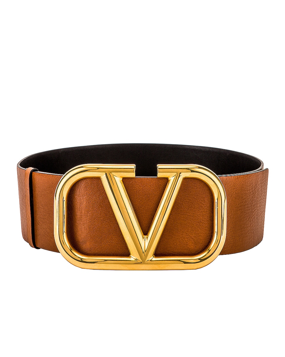 Image 1 of Valentino V Logo Buckle Belt in Brown