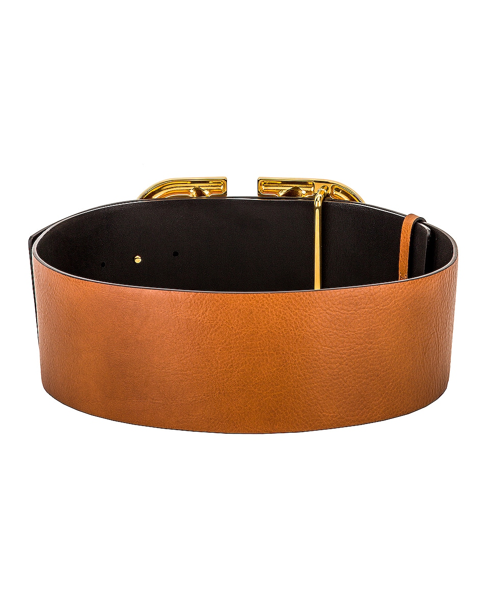 Image 2 of Valentino V Logo Buckle Belt in Brown