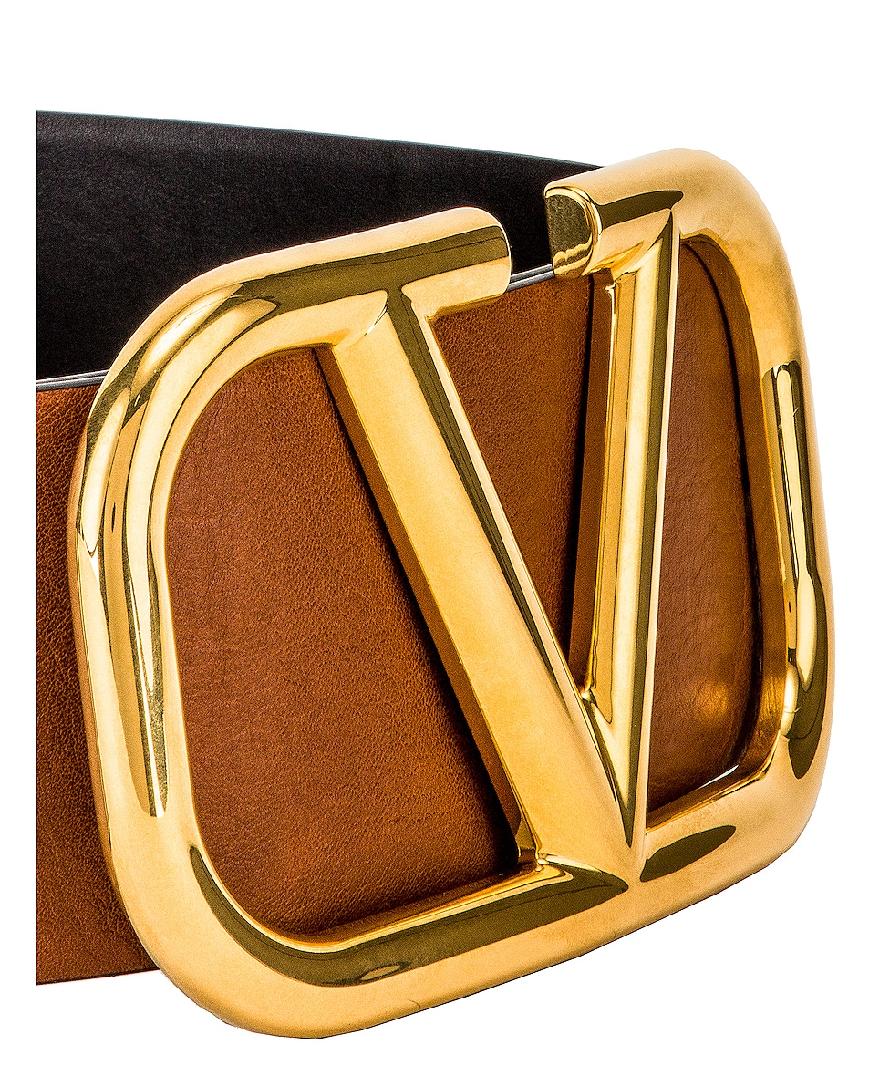 Image 3 of Valentino V Logo Buckle Belt in Brown