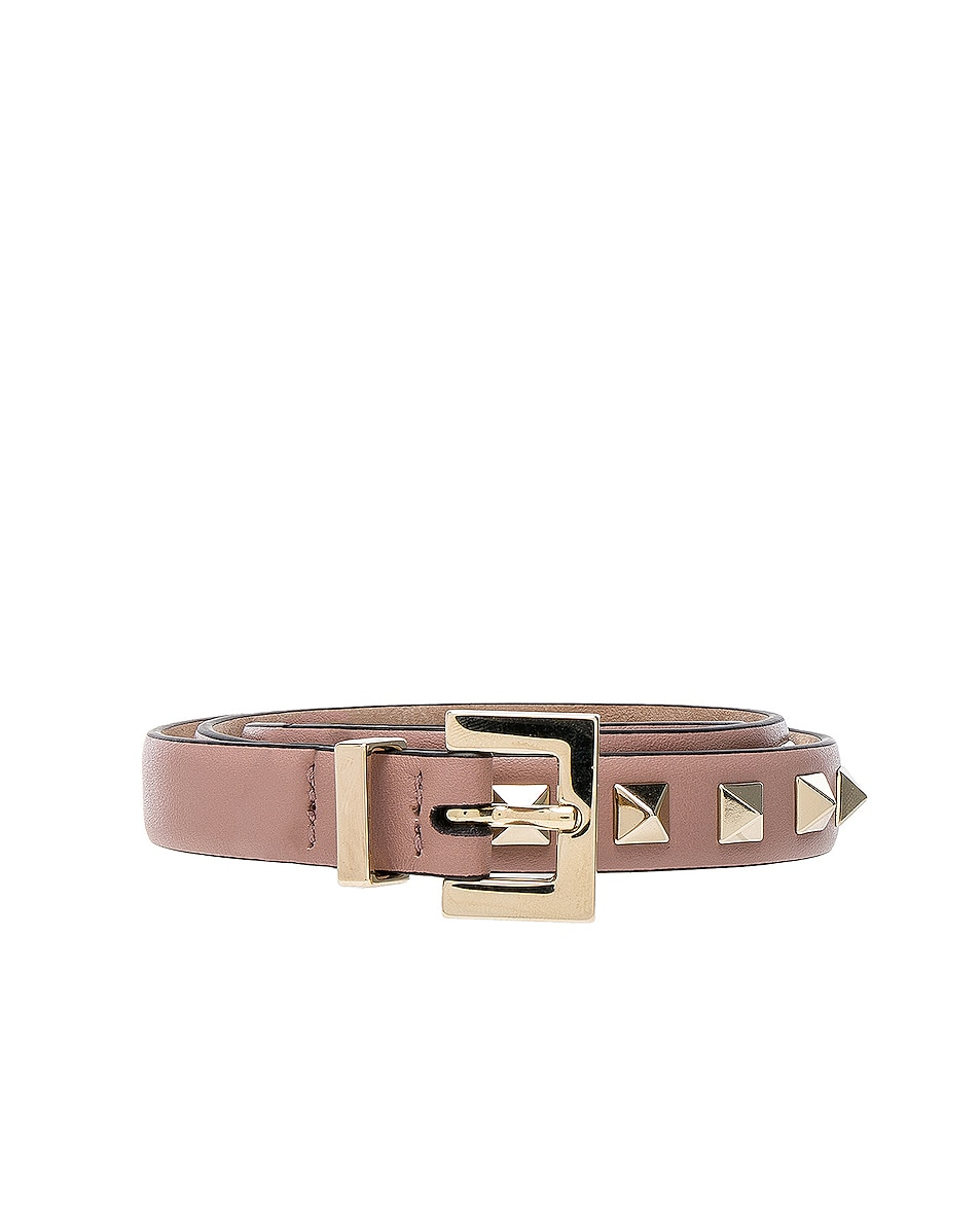 Image 1 of Valentino Rockstud Leather Belt in Poudre