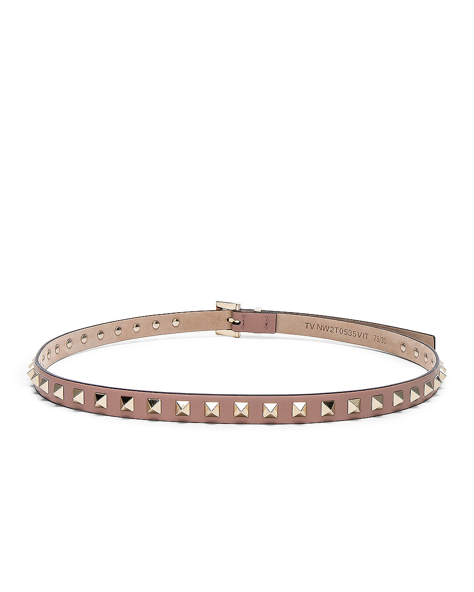 Image 3 of Valentino Rockstud Leather Belt in Poudre