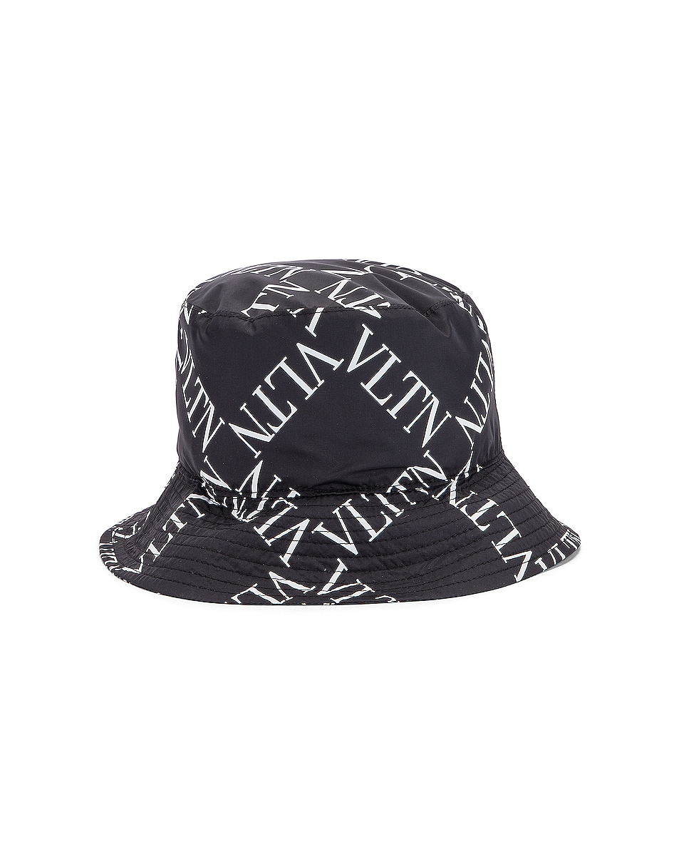 Image 4 of Valentino Print Bucket Hat in Black & White