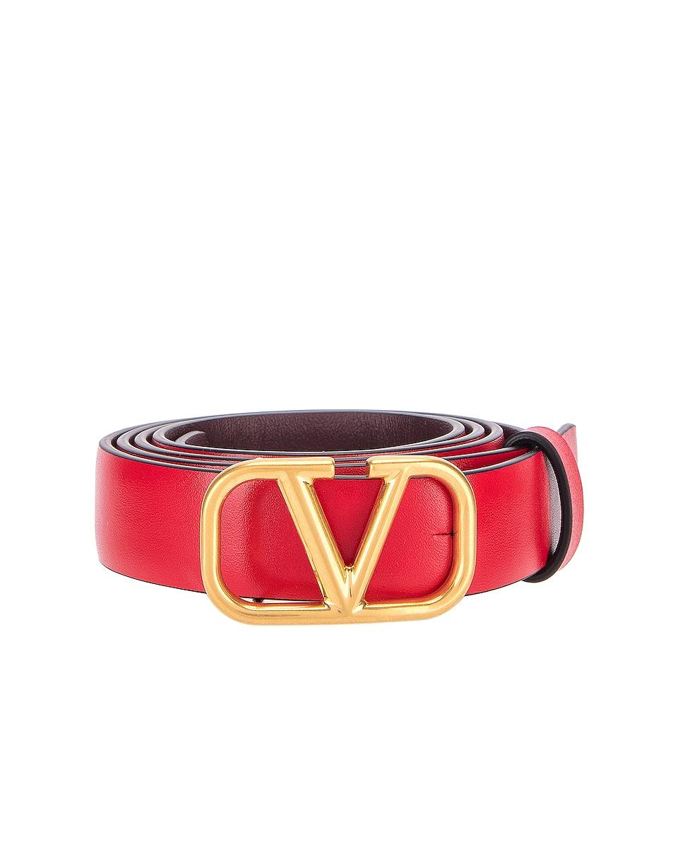 Image 1 of Valentino V Logo Buckle Belt in Red