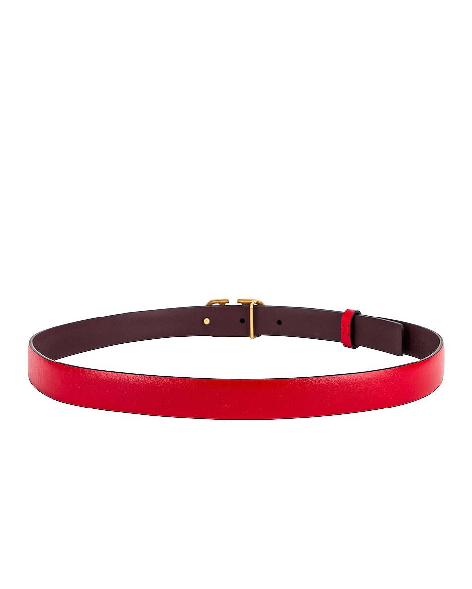 Image 3 of Valentino V Logo Buckle Belt in Red
