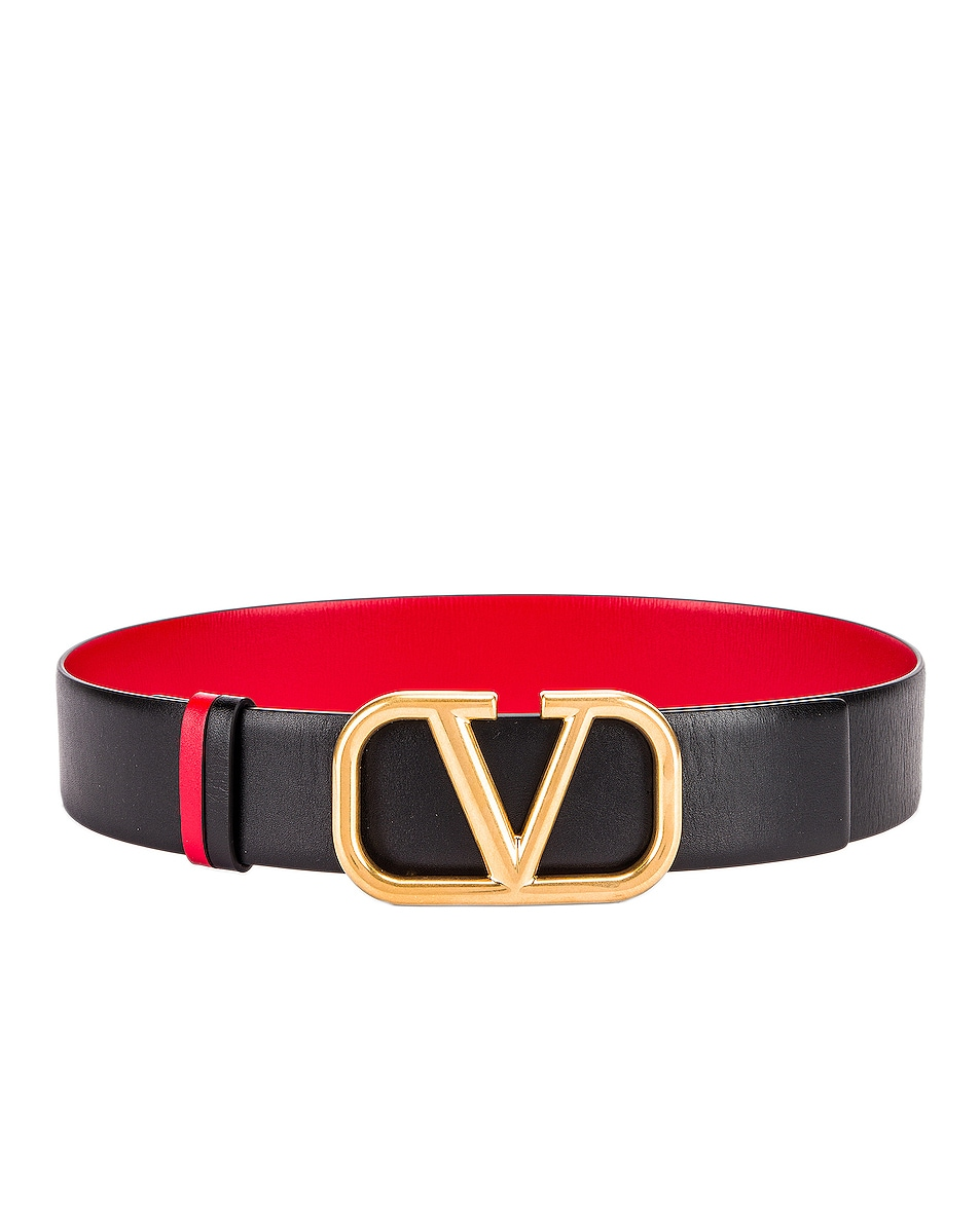 Image 1 of Valentino Garavani Logo Belt in Nero & Rouge Pur
