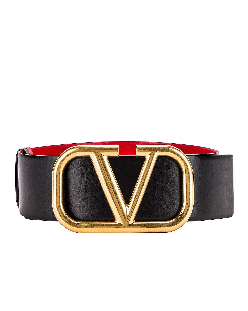 Image 1 of Valentino VLogo Leather Belt in Black & Red