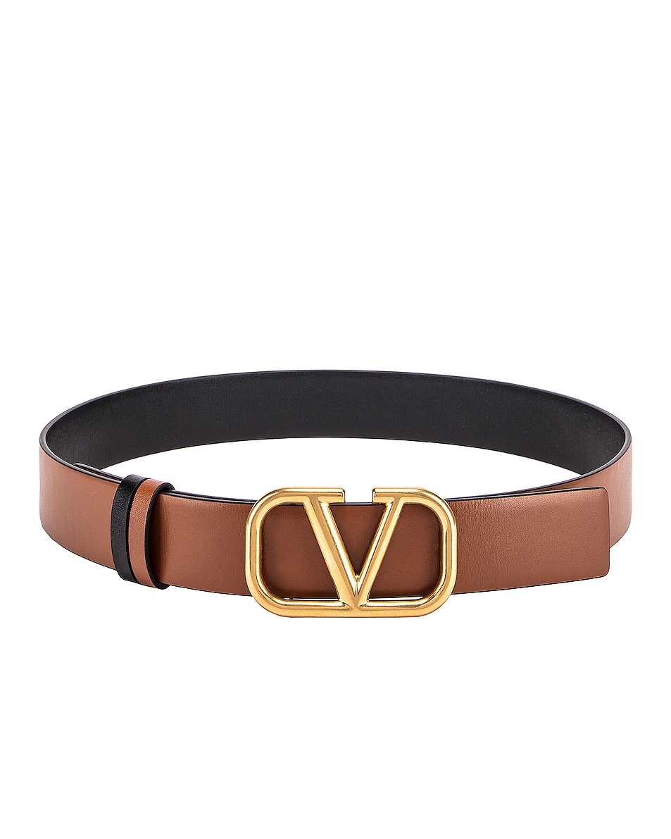 Image 1 of Valentino VLogo Belt in Selleria & Black