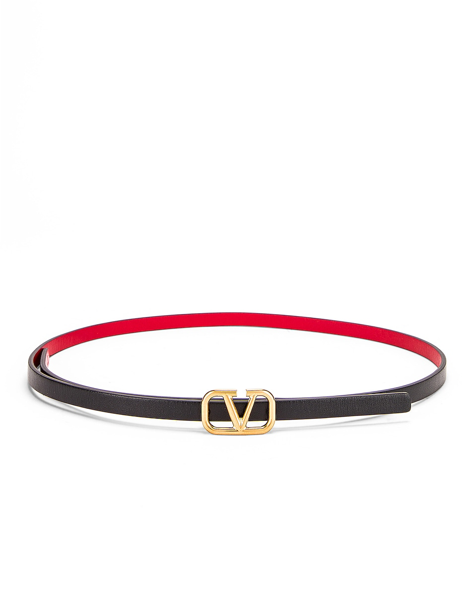 Image 1 of Valentino Garavani Vlogo Skinny Leather Belt in Nero & Rouge Pur