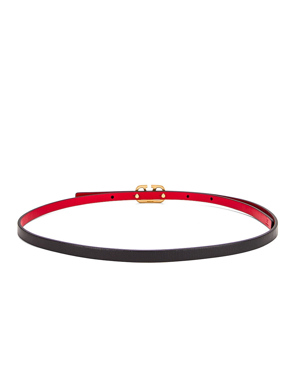 Image 2 of Valentino Vlogo Skinny Leather Belt in Nero & Rouge Pur