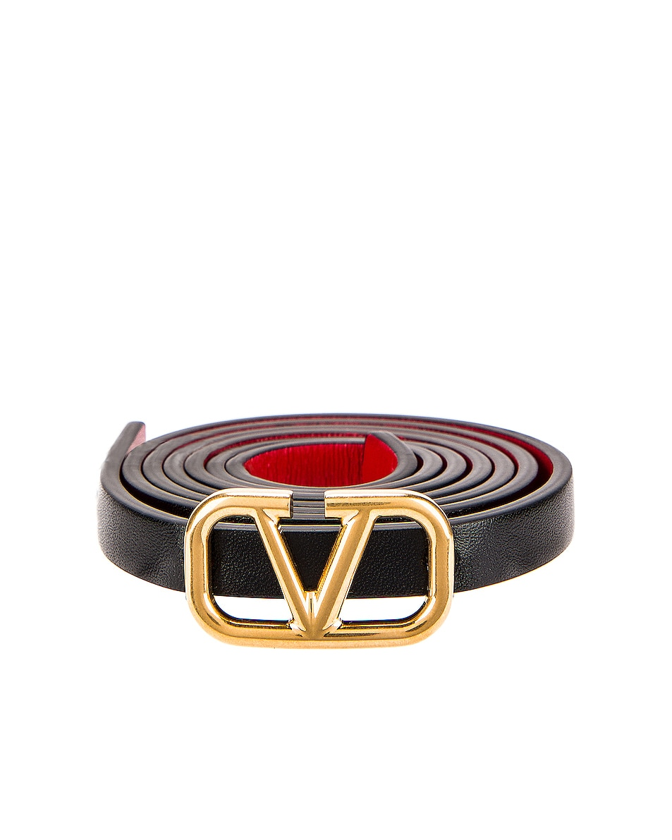 Image 3 of Valentino Vlogo Skinny Leather Belt in Nero & Rouge Pur