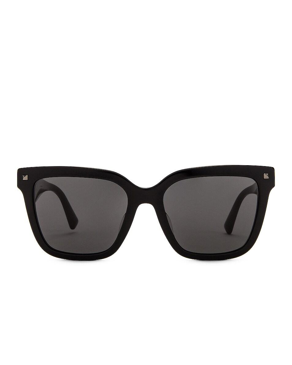 Image 1 of Valentino Garavani Acetate Logo Sunglasses in Black & White