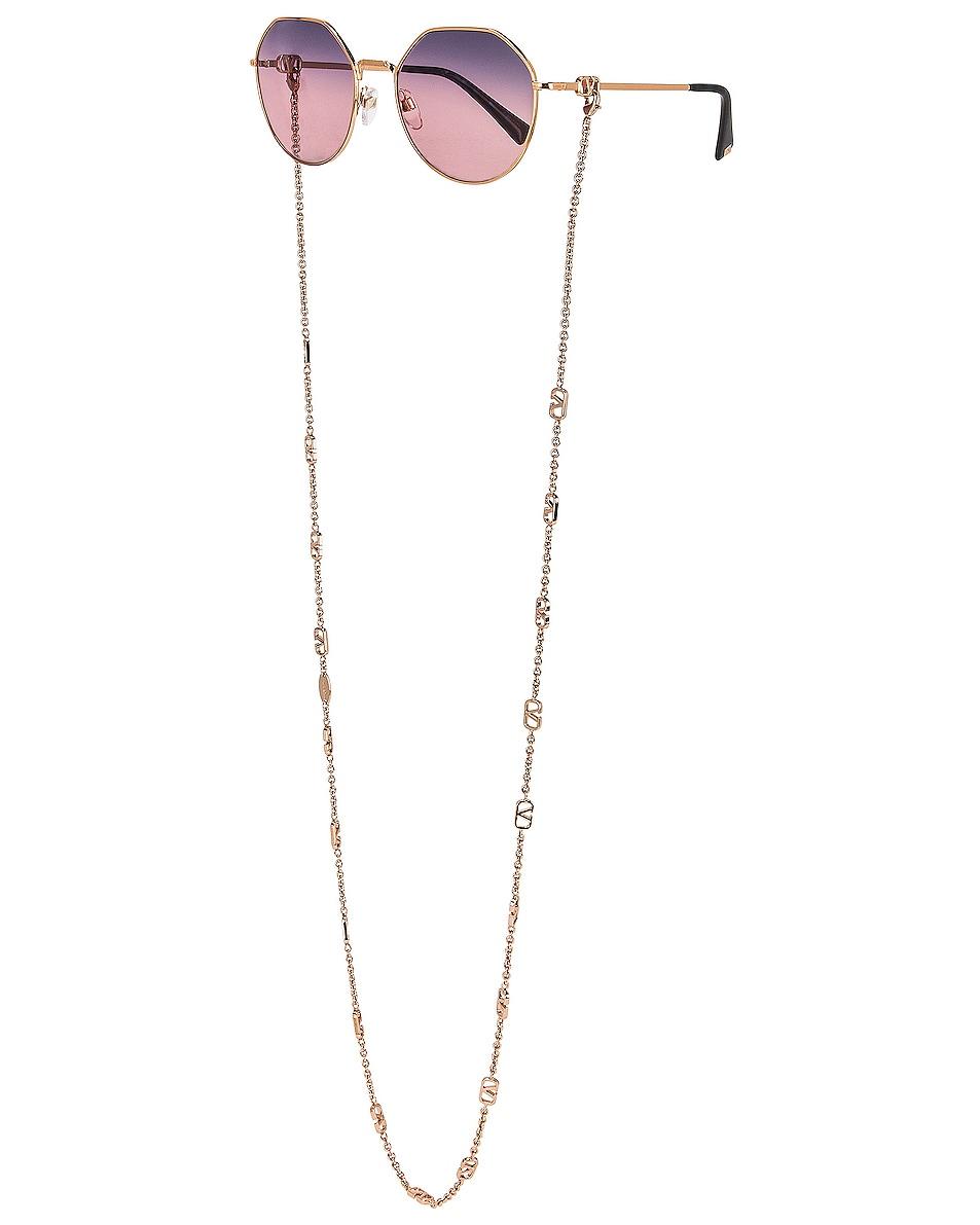 Image 1 of Valentino Garavani VLogo Chain Metal Sunglasses in Rose
