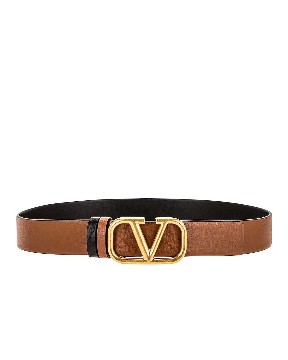 Image 1 of Valentino Garavani VLogo Buckle Belt in Selleria & Nero