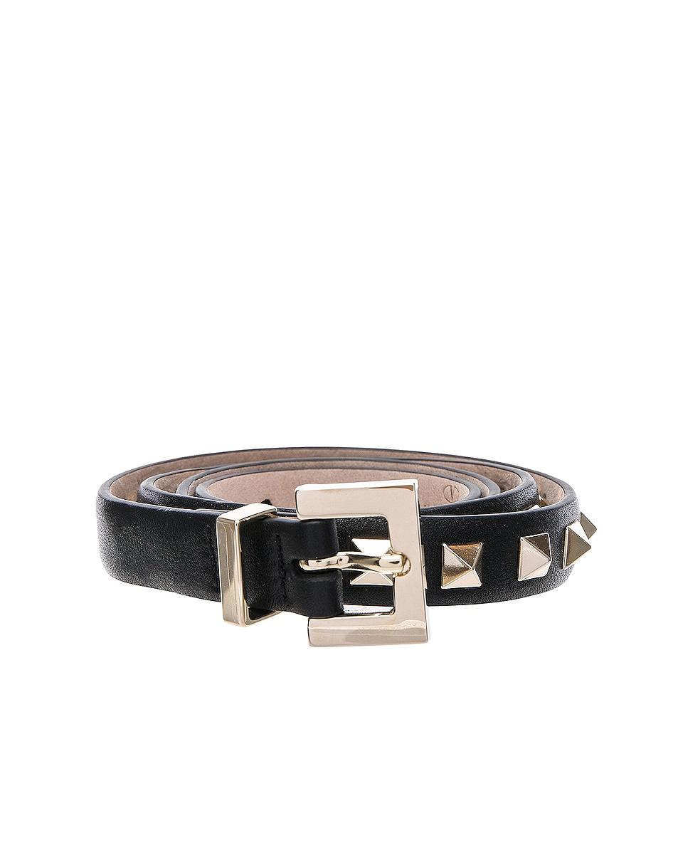 Image 1 of Valentino Rockstud Leather Belt in Black