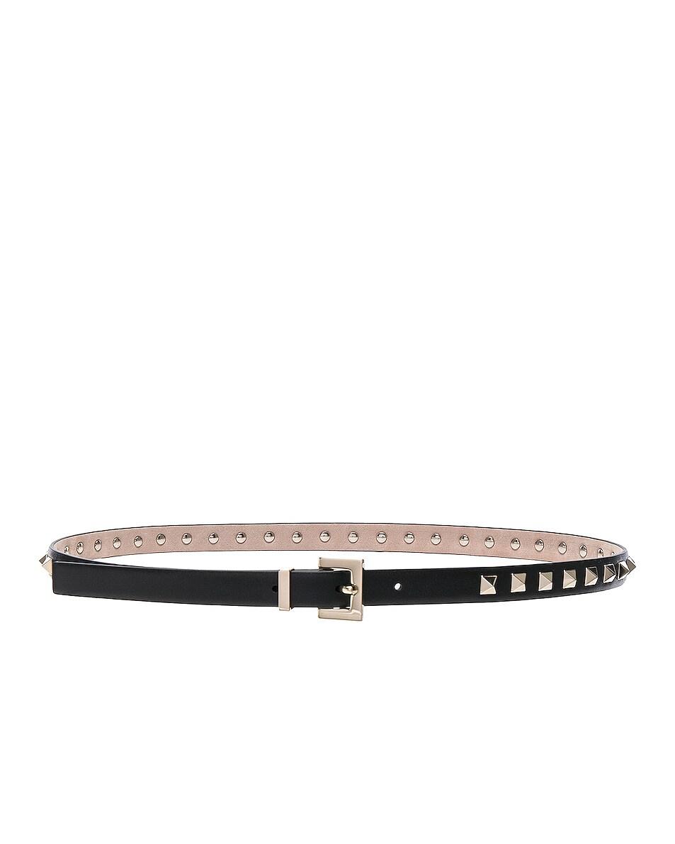 Image 2 of Valentino Rockstud Leather Belt in Black
