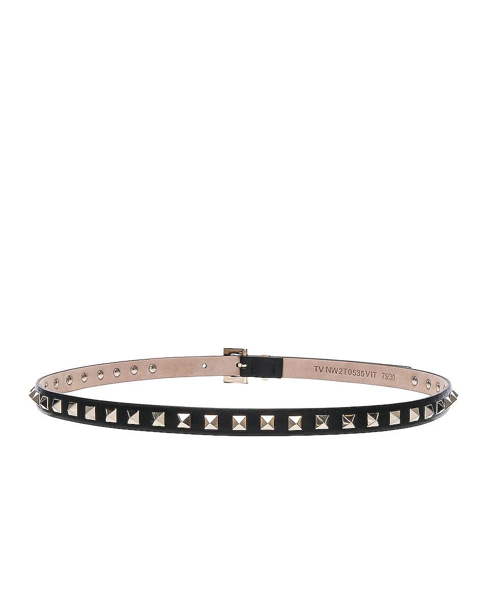 Image 3 of Valentino Rockstud Leather Belt in Black