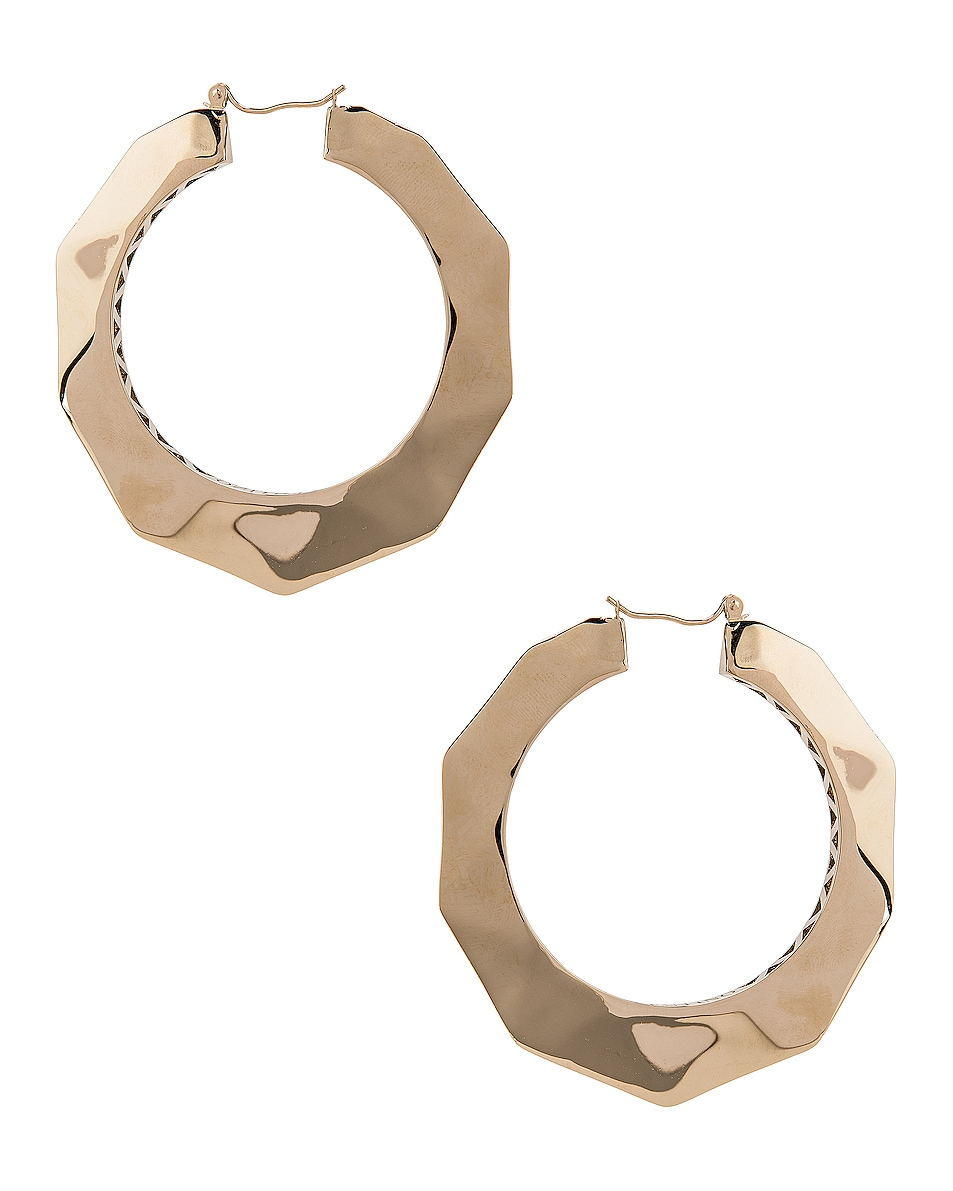 Image 4 of Valentino Logo Hoop Earrings in Platinum