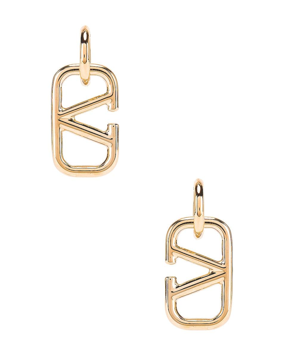 Image 1 of Valentino V Logo Earrings in Gold