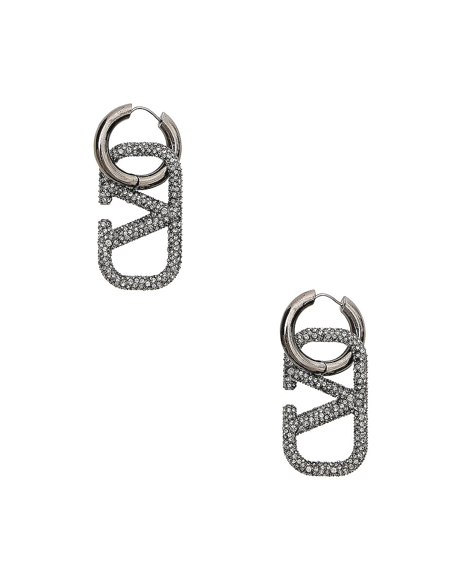 Image 1 of Valentino Go Logo Earrings in Black Diamond