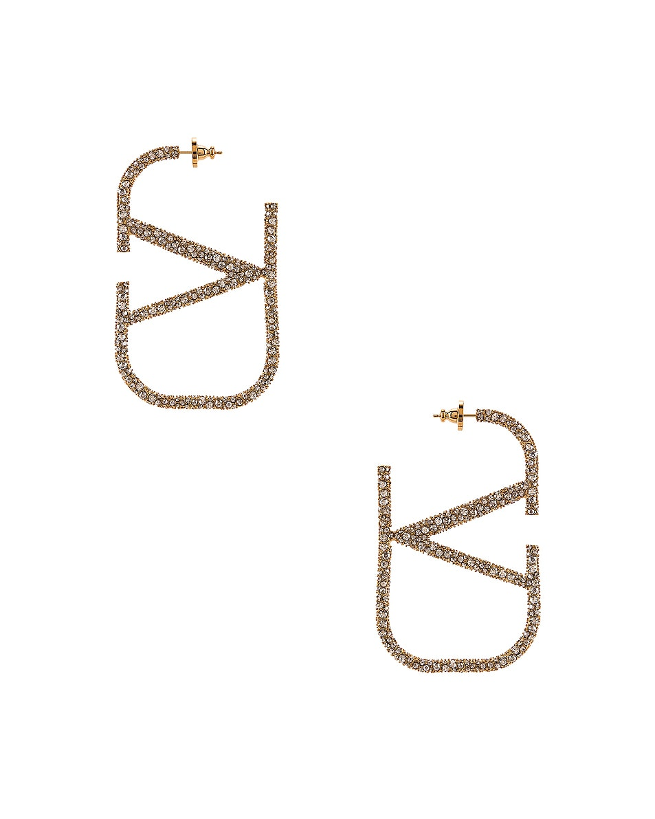 Image 1 of Valentino VLogo Earrings in Gold & Crystal Silver