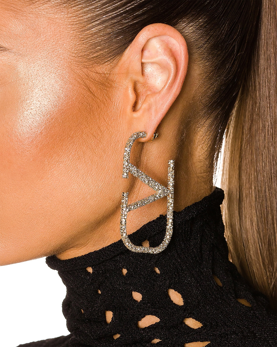 Image 2 of Valentino VLogo Earrings in Gold & Crystal Silver