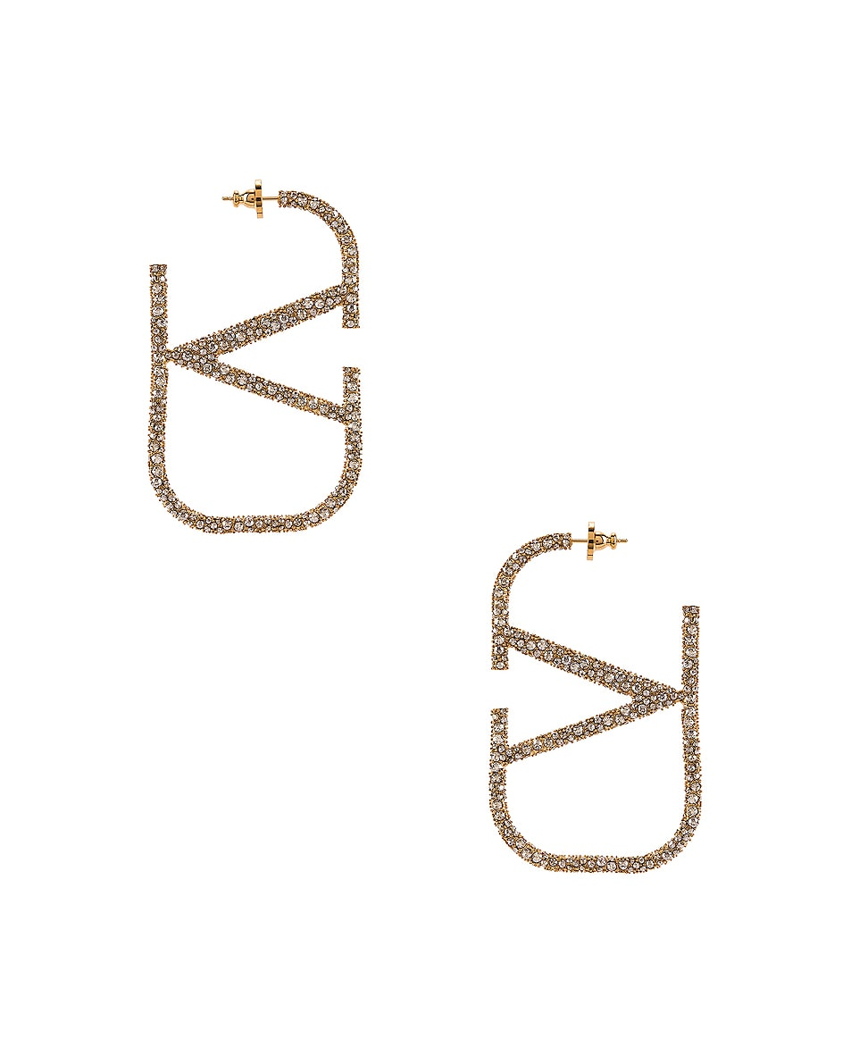 Image 4 of Valentino VLogo Earrings in Gold & Crystal Silver