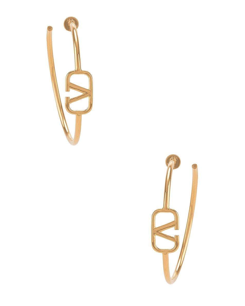 Image 1 of Valentino VLogo Hoop Earrings in Gold