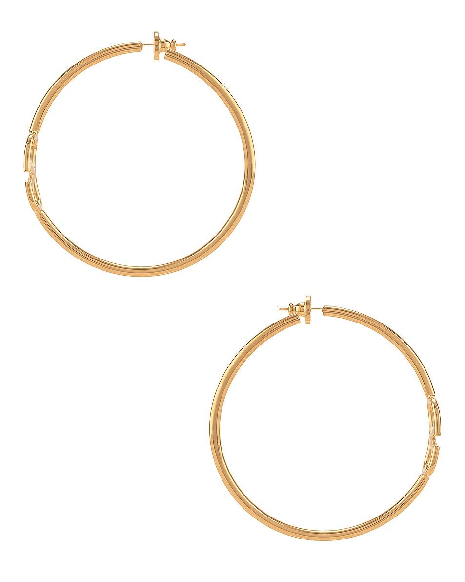 Image 3 of Valentino VLogo Hoop Earrings in Gold