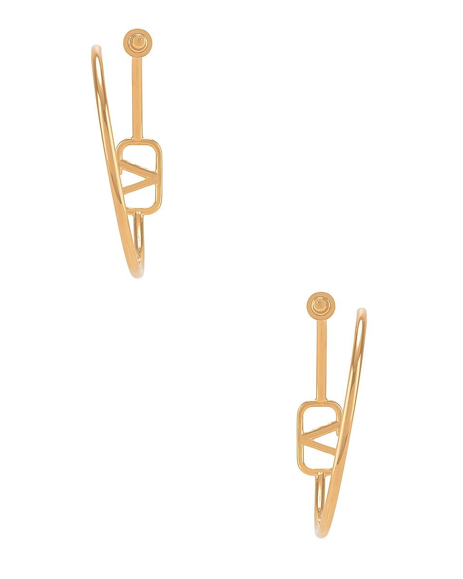 Image 4 of Valentino VLogo Hoop Earrings in Gold