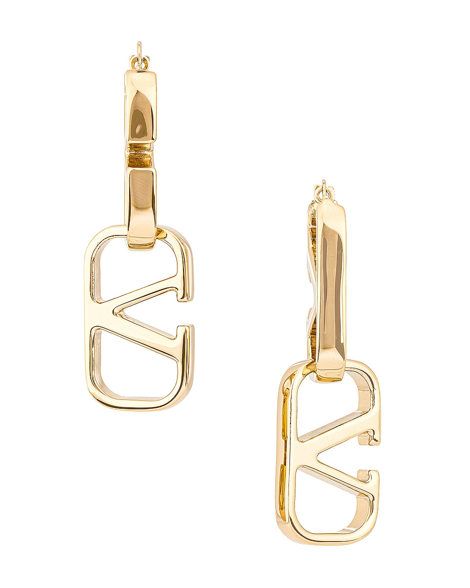 Image 1 of Valentino V Chain Earrings in Gold