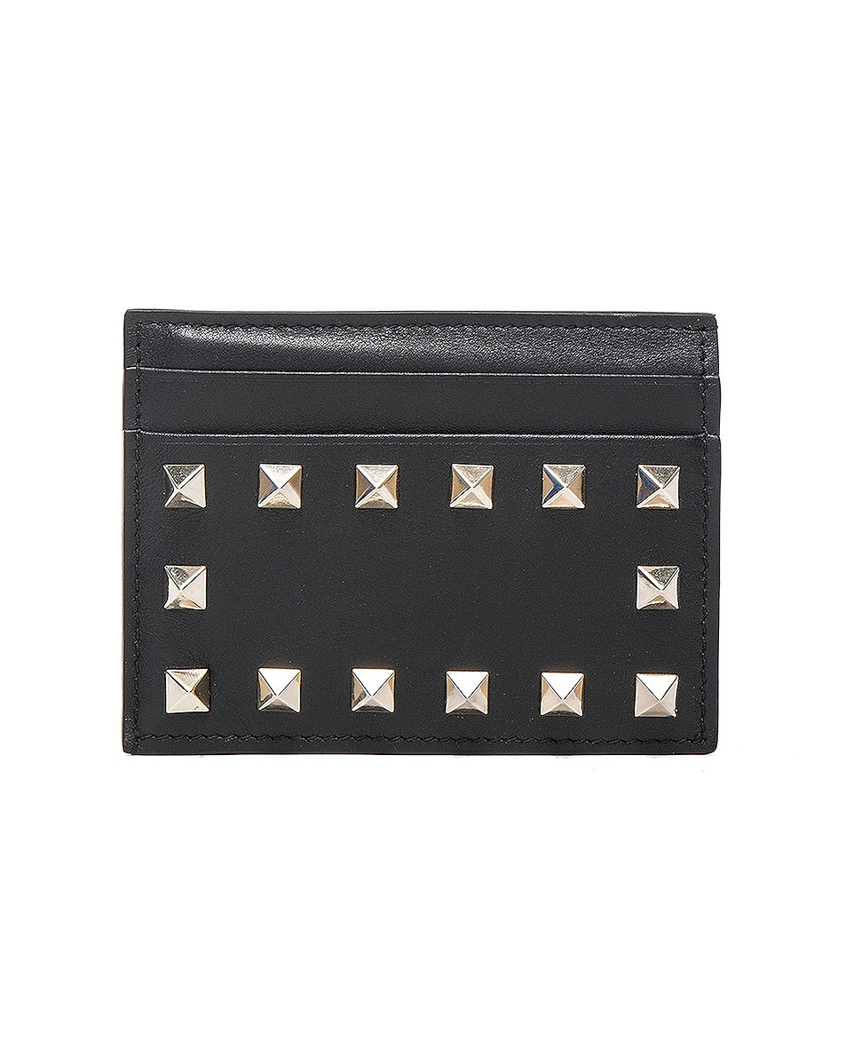 Image 1 of Valentino Rockstud Credit Card Holder in Black