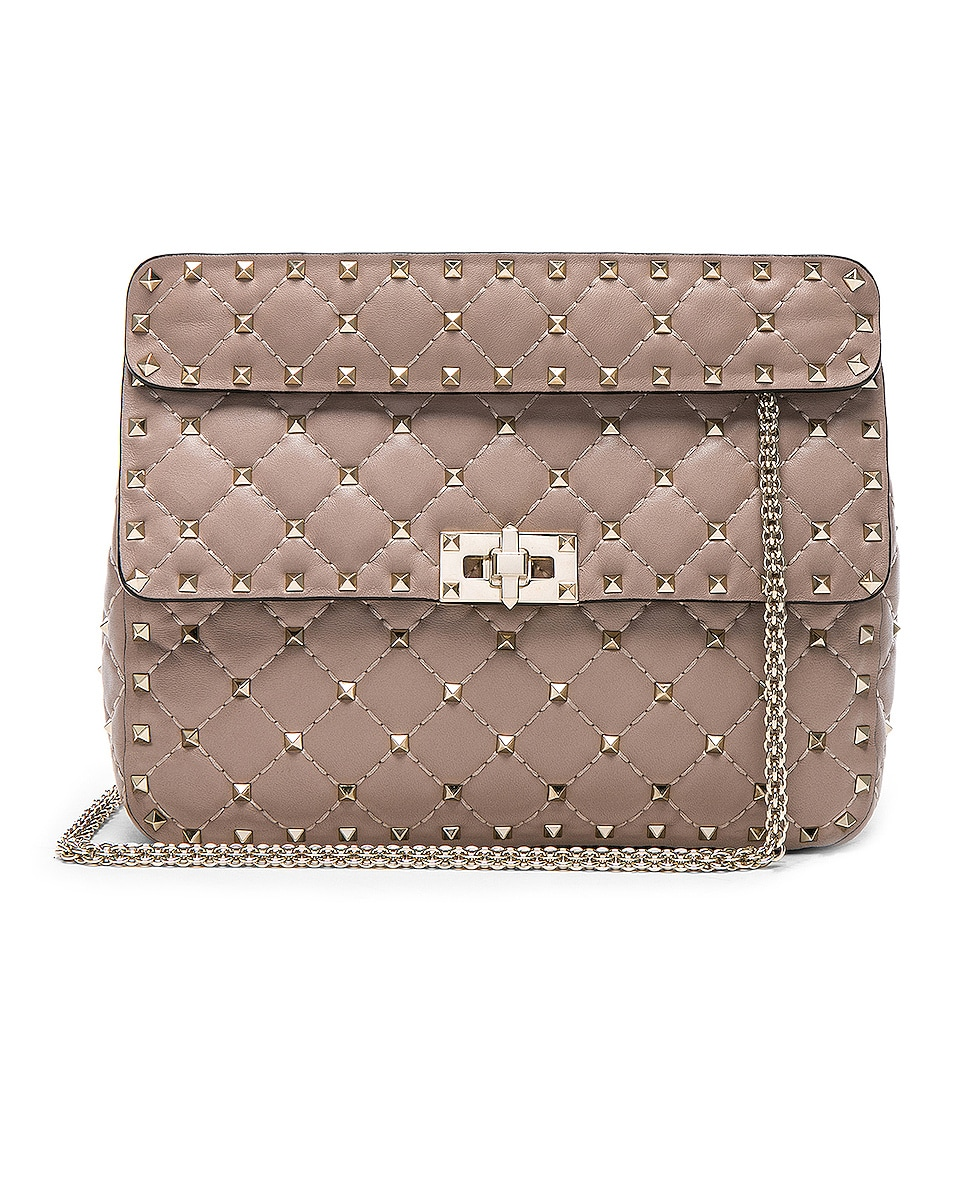 Image 1 of Valentino Medium Rockstud Spike Shoulder Bag in Poudre
