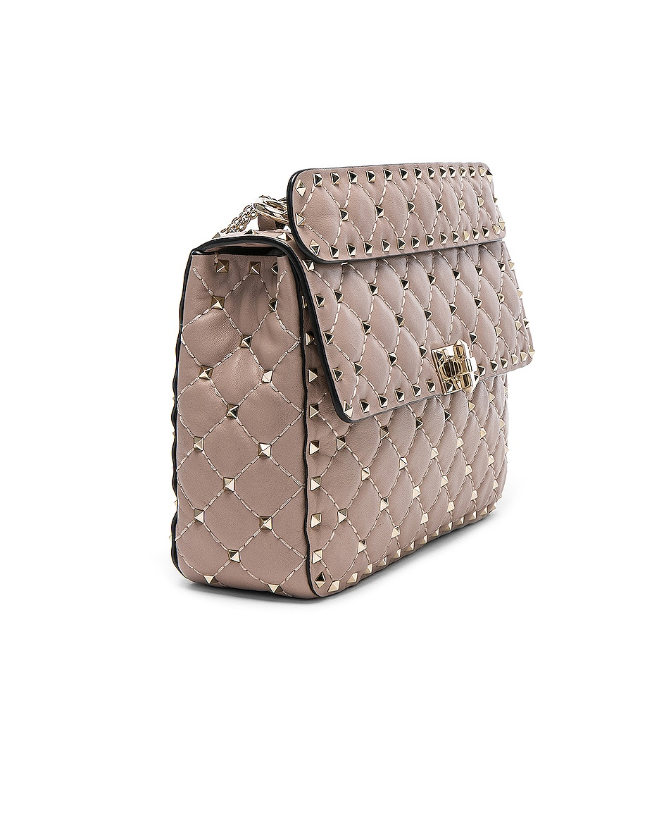 Image 4 of Valentino Medium Rockstud Spike Shoulder Bag in Poudre