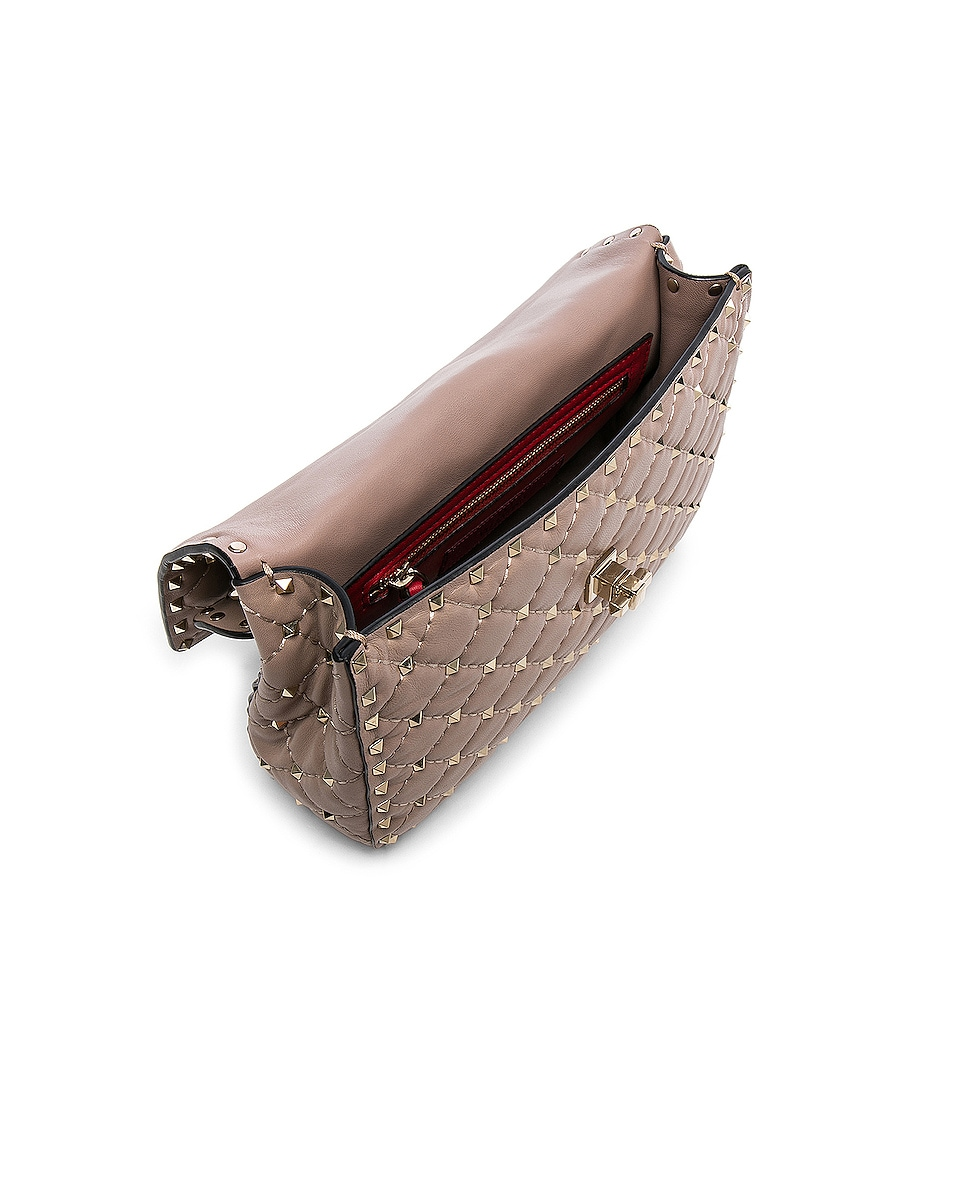 Image 5 of Valentino Medium Rockstud Spike Shoulder Bag in Poudre