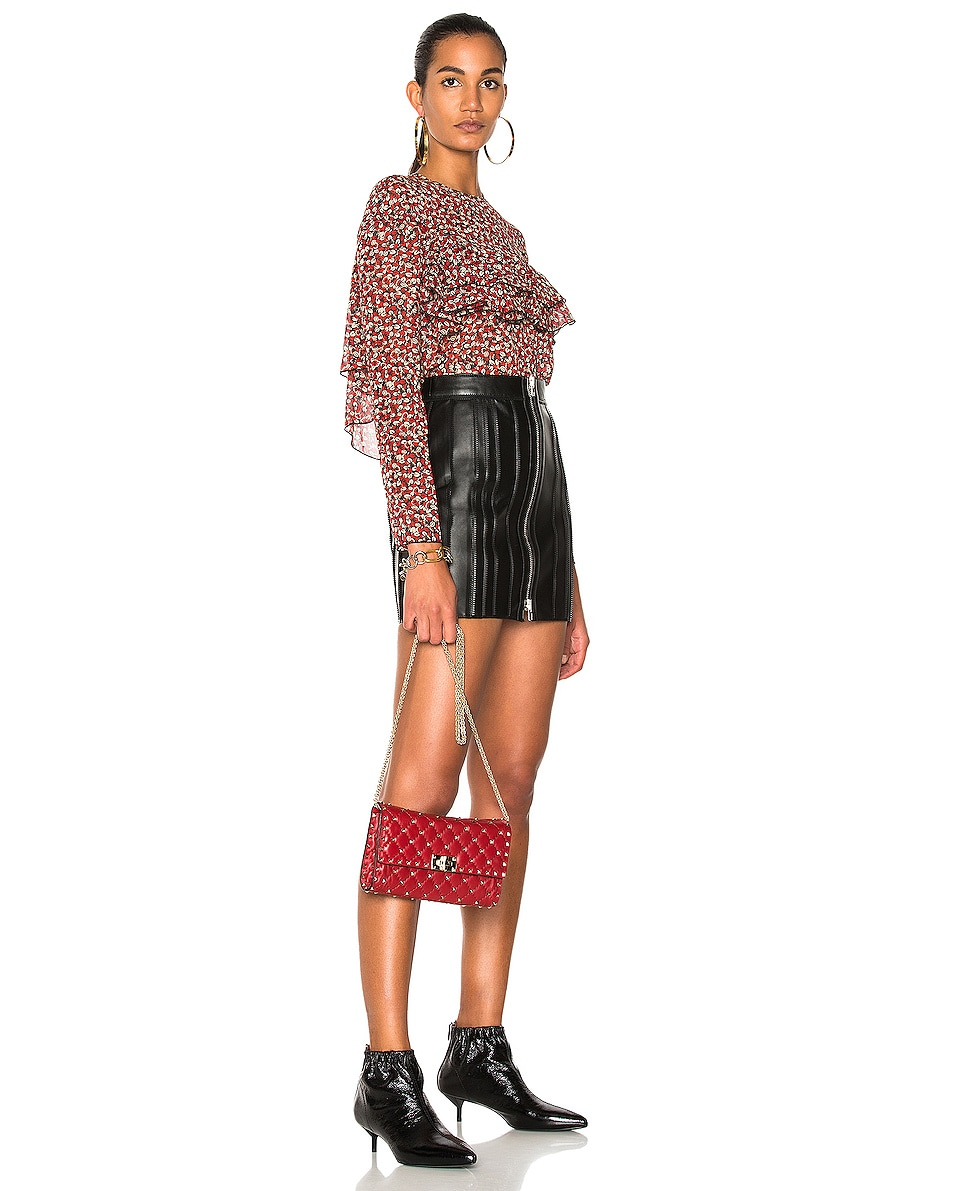 Image 2 of Valentino Rockstud Spike Clutch in Red