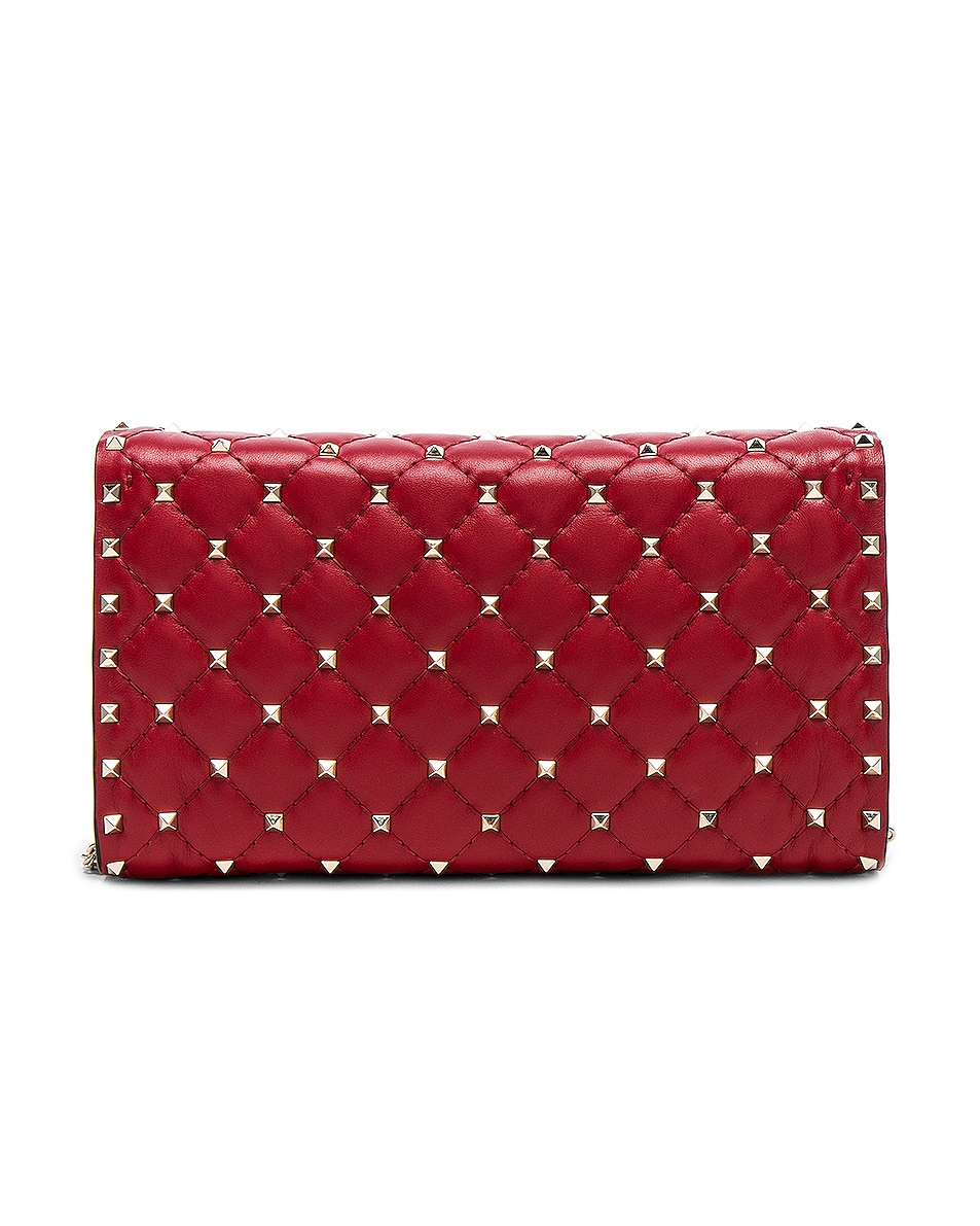Image 3 of Valentino Rockstud Spike Clutch in Red