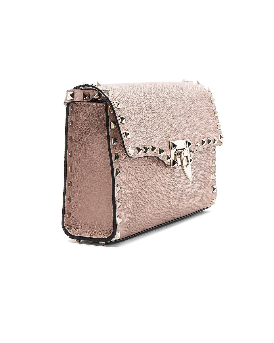 Image 4 of Valentino Medium Rockstud Shoulder Bag in Poudre
