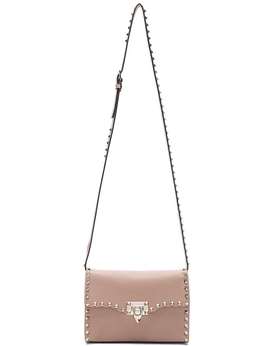 Image 6 of Valentino Medium Rockstud Shoulder Bag in Poudre