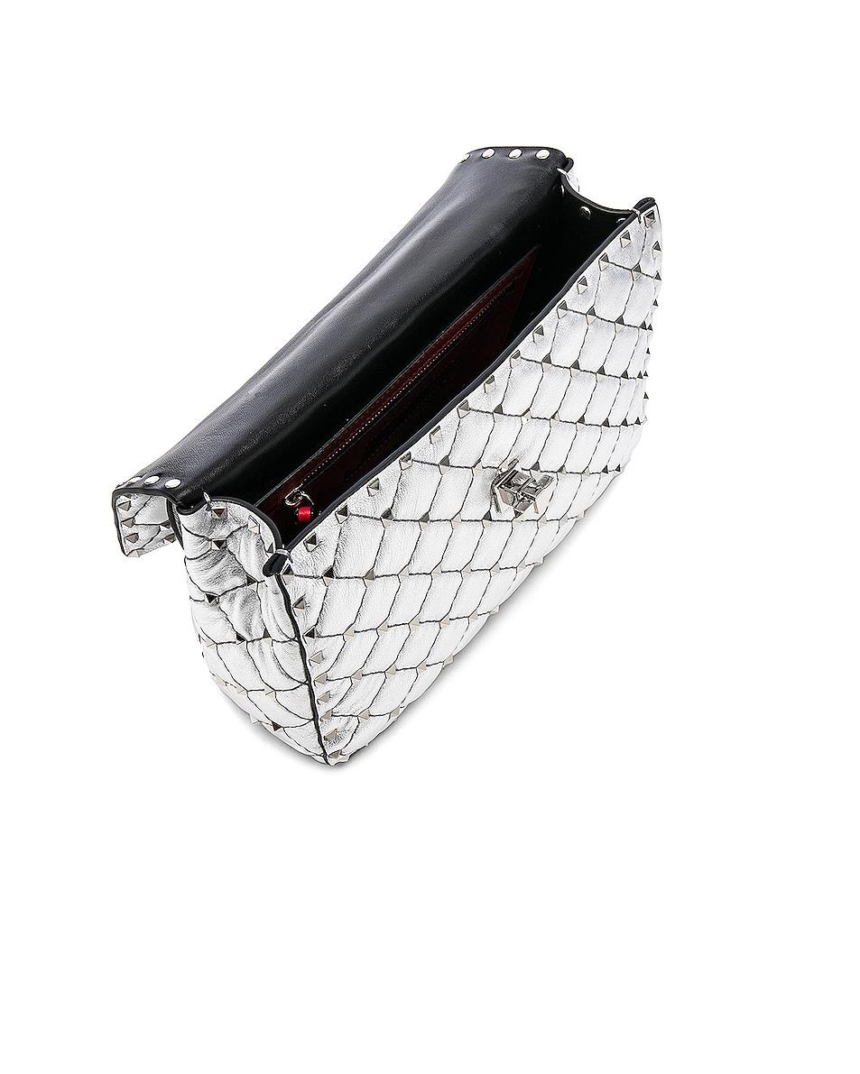 Image 5 of Valentino Medium Metallic Rockstud Spike Shoulder Bag in Silver