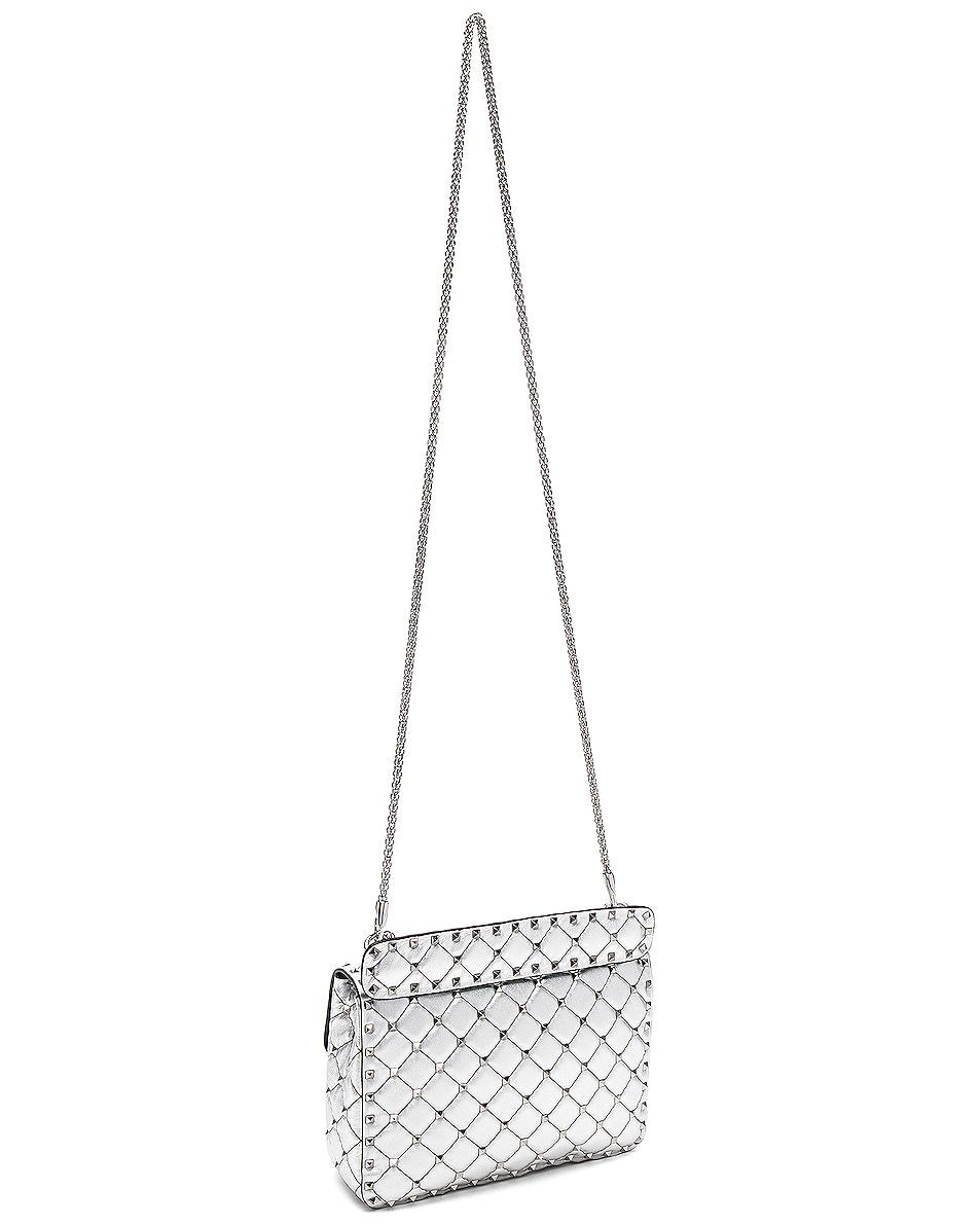 Image 6 of Valentino Medium Metallic Rockstud Spike Shoulder Bag in Silver