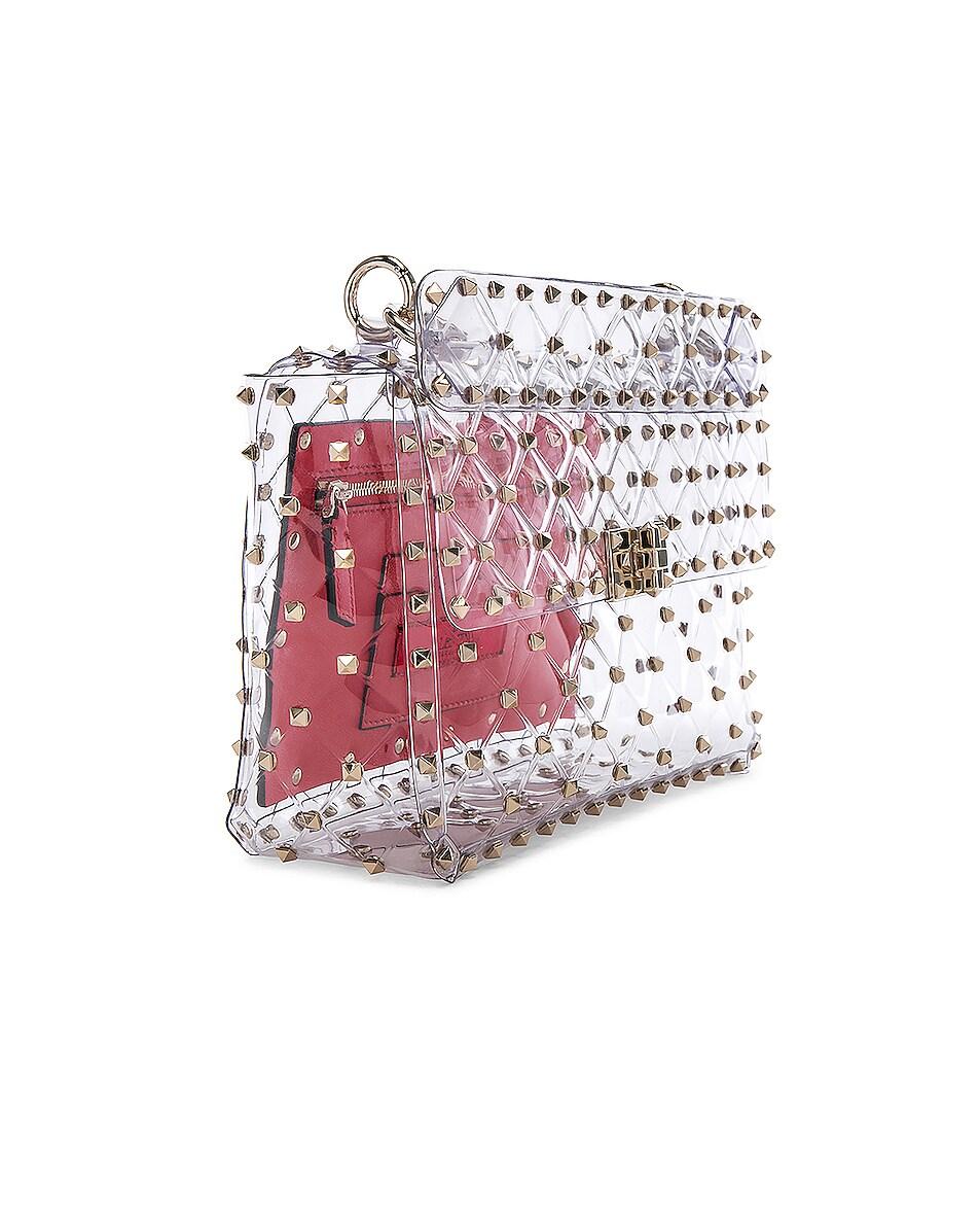 Image 4 of Valentino Medium Rockstud Spike PVC Shoulder Bag in Clear