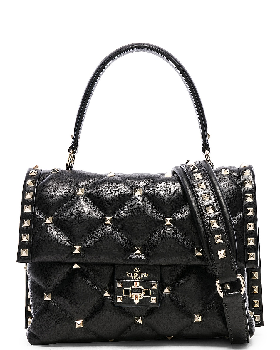 Image 1 of Valentino Candystud Top Handle Bag in Black
