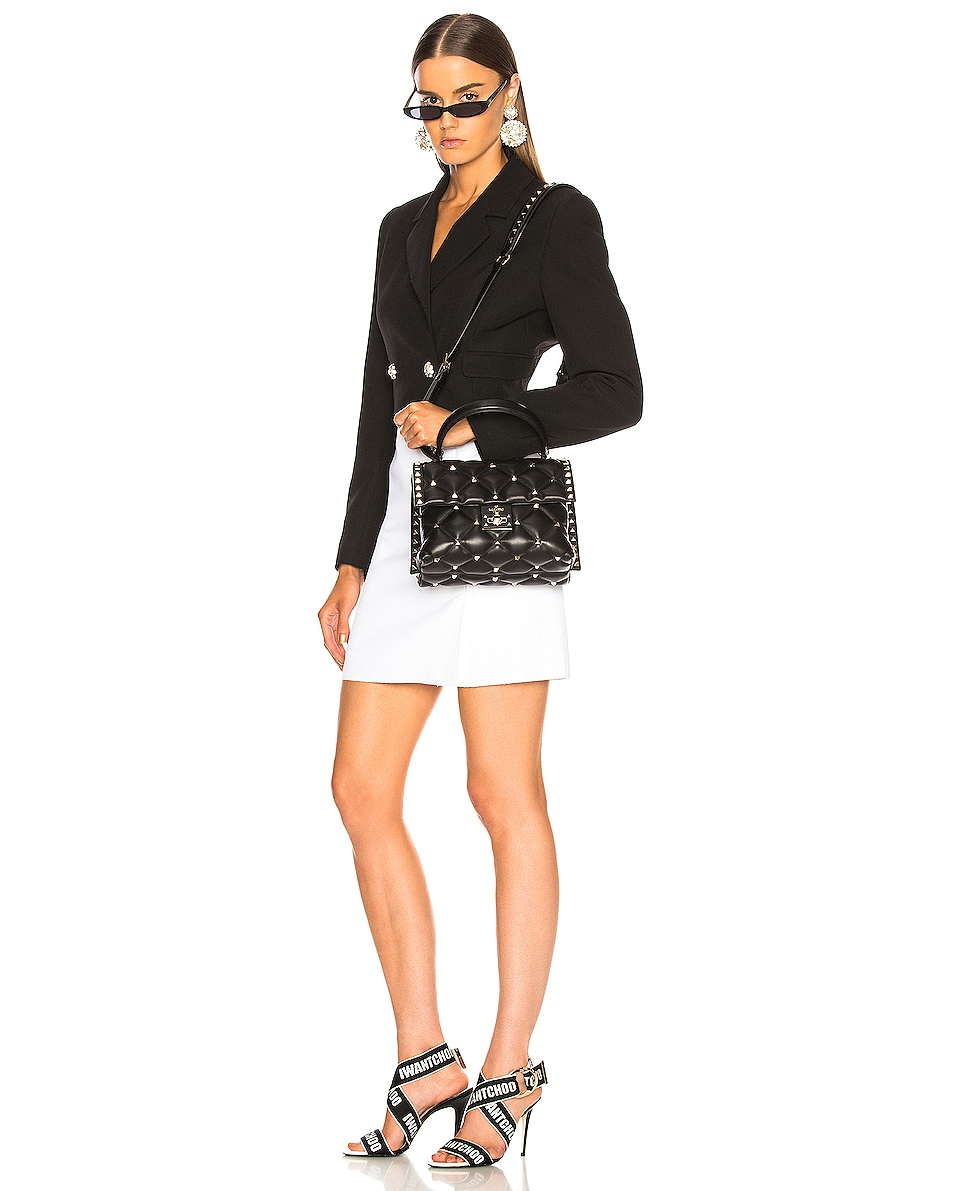 Image 2 of Valentino Candystud Top Handle Bag in Black