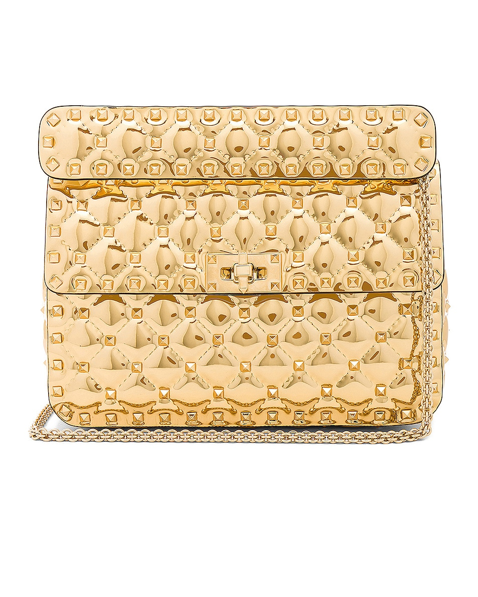 Image 1 of Valentino Medium Metallic Rockstud Spike Shoulder Bag in Gold