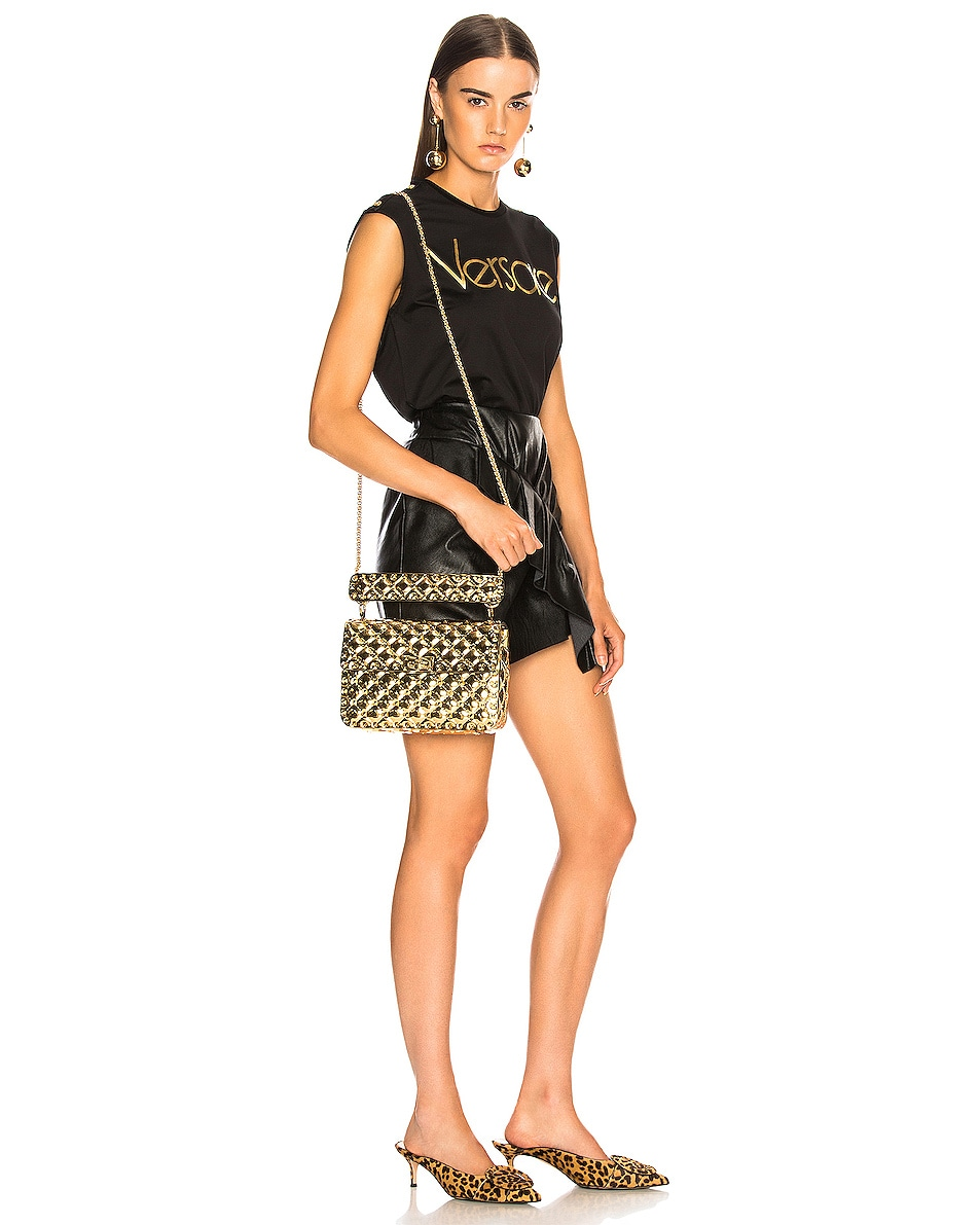 Image 2 of Valentino Medium Metallic Rockstud Spike Shoulder Bag in Gold