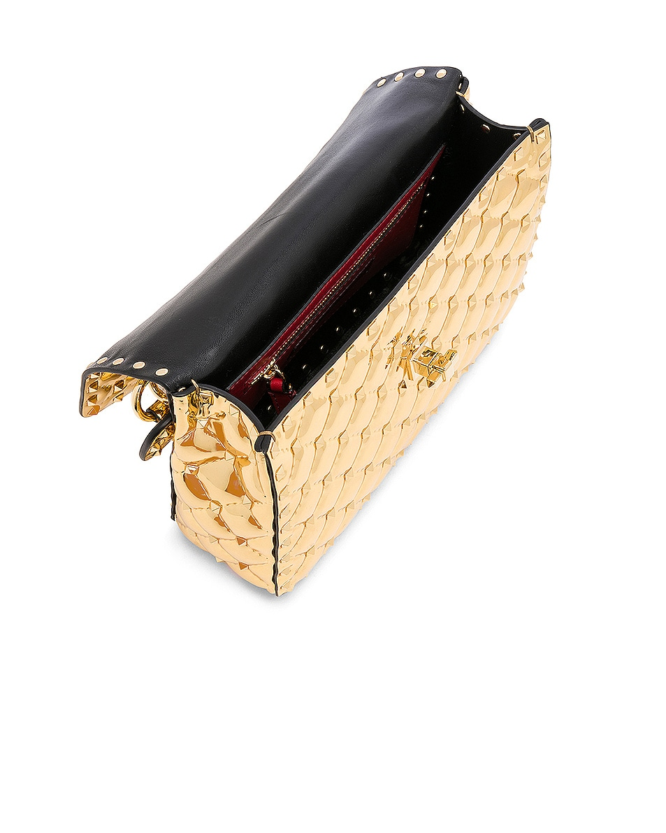 Image 5 of Valentino Medium Metallic Rockstud Spike Shoulder Bag in Gold