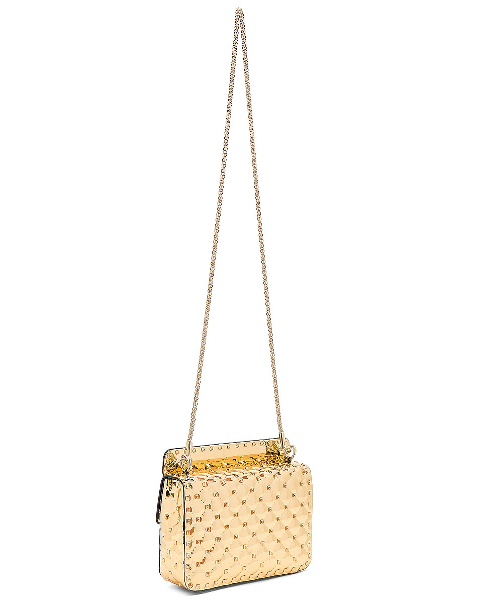 Image 6 of Valentino Medium Metallic Rockstud Spike Shoulder Bag in Gold